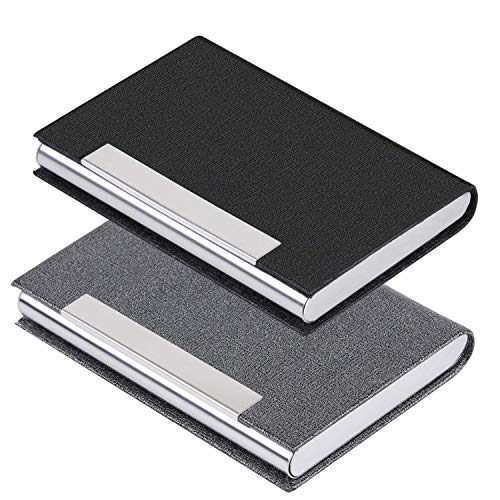Business Card Holder Business Card Case - JuneLsy 2 Pack Luxury PU Leather and Stainless Steel Card Holder for Men and Women with Magnetic Shut Keep Business Cards Clean (Black/Gray)