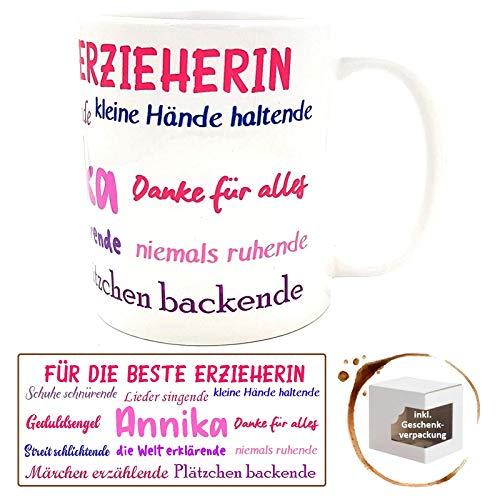 Danke-Tasse für Erzieherin Kindergärtnerin inkl Geschenkverpackung Sprüche Kindergarten-Abschied Geburtstagsgeschenk (weiß mit Wunschname)