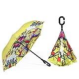 Ombrello, Umbrella Entivento Antivento Ombrello inverso Pieghevole Pieghevole Protezione solare Taglio pioggia e paralume C Ombrello a forma di vento a forma di Ombrello Acqua Elaborazione Acqua Elabo