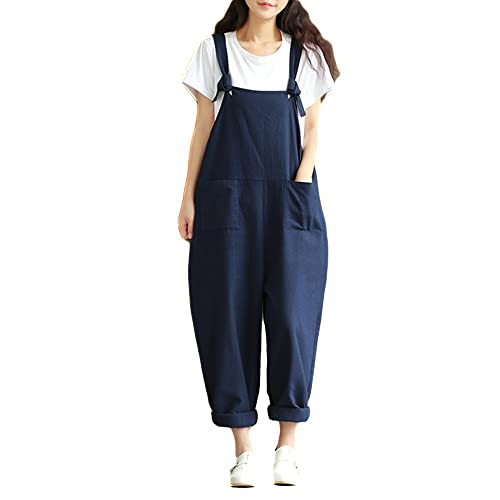 f52786f2452 Helisopus Women s Plus Size Linen Overalls Baggy Adjustable Strap  Sleeveless Jumpsuits Casual Loose Wide Leg Dungarees