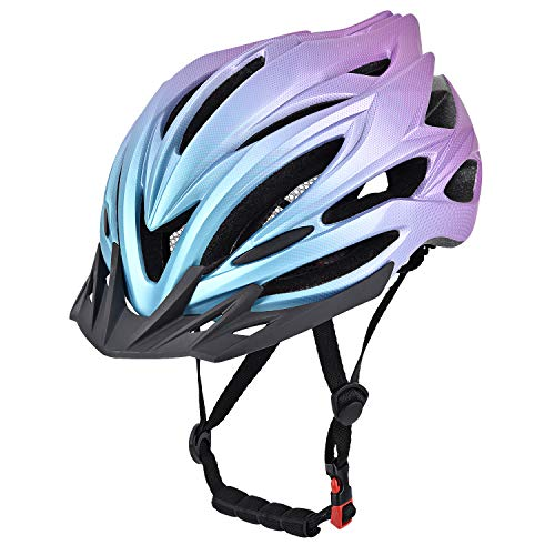 YieJoya Adult Bike Helmet,Road/Mountain Bicycle Cycling Helmet for Men and Women with Removable Visor,Adjustable Dail, Flow Vents and Detachable Liner-Red+Blue