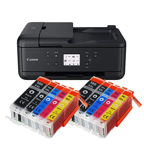 Canon Pixma TR7550 TR-7550 All-in-One Farbtintenstrahl-Multifunktionsgerät (Drucker, Scanner, Kopierer, USB, WLAN, Apple AirPrint) Schwarz + 10er Set IC-Office XXL Tintenpatronen 580XXL 581XXL