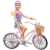 Barbie Mobilier poupée et sa bicyclette avec panier, vélo fourni avec casque rose et panier et bouteille d'eau, jouet pour enfant, FTV96