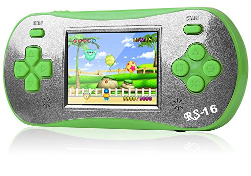 ZFKJ Handheld Games 2.5-inch Color Screen pre-Installed 260 Classic Retro Video Games No WiFi Children's Adult Electronic Game Consoles Birthday (Green)