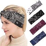 4 Pack Diadema Mujeres Vintage Diadema Boho Impreso Banda para el cabello Banda elástica para el cabello Bandana Diademas Accesorios para el cabello