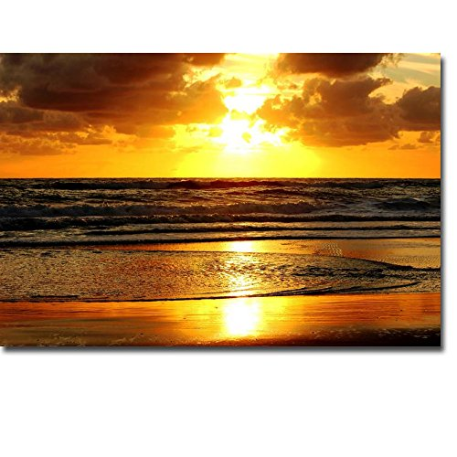 Sunset with beach ocean wave art print landscape picture canvas poster oil painting mural print living room home decoration 70x110cm frameless