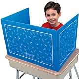 Really Good Stuff Plastic Privacy Shields for Student Desks – Privacy Divider Keep Eyes From Wandering During Tests and Assignments – Reduces Distractions, Blue With School Supplies Pattern (Set of 6)