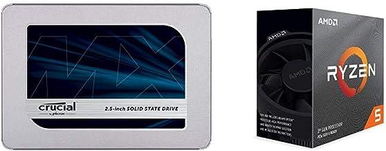 Crucial MX500 1TB 3D NAND SATA 2.5 Inch Internal SSD - CT1000MX500SSD1, Blue/Gray Bundle with AMD Ryzen 5 3600 6-Core, 12-...