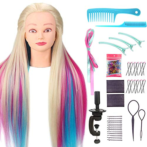 Kyerivs Mannequin Head Training Head with Hair Manikin Head Hair Styling Hairdressing Training Model Synthetic Fiber Hair Braiding Head with Clamp and Hair Styling Kit (Colorful)
