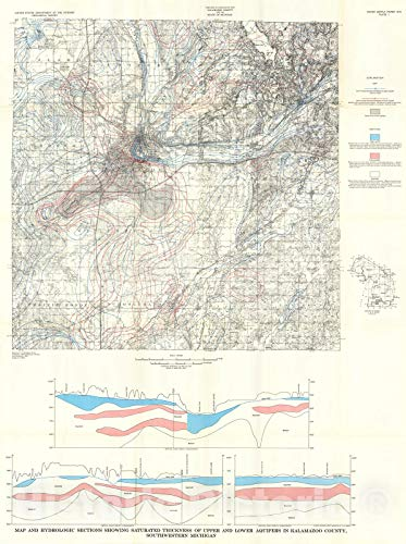 Historic Pictoric Map : Availability of Water in Kalamazoo County, Southwestern Michigan, 1973 Cartography Wall Art : 18in x 24in