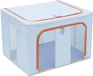 Coton Et Lin Vêtements Boîte De Rangement 66L De Grande Capacité Vêtements Jouets Quilt Tri Sac Organisateur Fenêtre Ceint...