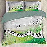 Waynekeysl Music Bedding Set Includes 1 Comforter and 2 Pillow Shams, Washed Microfiber Music Piano Keys Curvy Fingerboard Summertime with Four Corner Straps