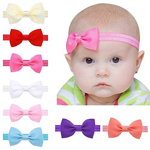 EROSPA® Stirnband mit Schleife für Baby Kleinkind Haarband elastisch Bowknot Fotografie Taufe Geschenk Schmuck - Unisex (Weiß)