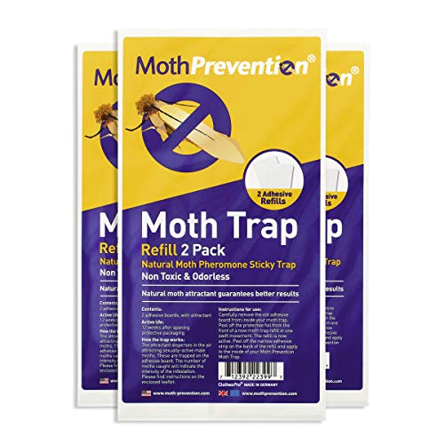 Powerful Moth Trap Refill Strips | 3X Twin Packs (6 Strips in Total) | for MothPrevention Clothes Moth Traps