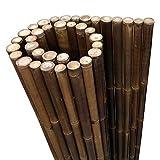 DE-COmmerce Extrem Stabiler Bambus Holz Sichtschutz Zaun XL hochwertiger Windschutz mit geschlossenen und versiegelten Bambusrohren 180 cm x 100 cm nigra