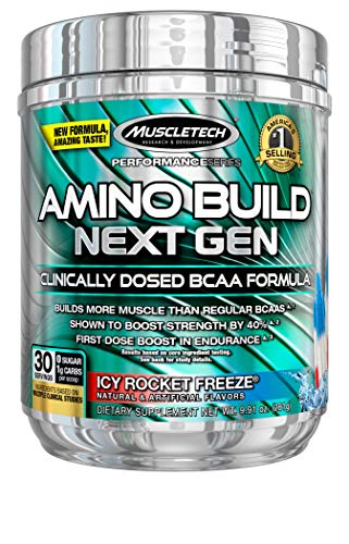 BCAA Amino Acids and Electrolyte Powder, MuscleTech Amino Build, 7g of BCAAs and Electrolytes, Support Muscle Recovery, Build Lean Muscle & Boost Endurance, Icy Rocket Freeze (30 Servings)
