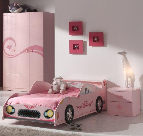 TRAUMHAFT* 3-tlg Mädchen Kinderzimmer in pink Autobett Kleiderschrank Nachttisch