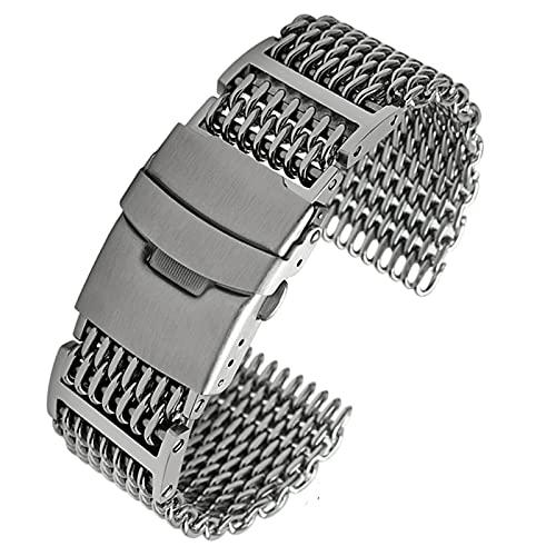 FJXJLKQS Reemplazo de La Correa de Reloj, 20 Mm,22 Mm,24 Mm Interfaz Curva Accesorios de Reloj Banda de Reloj Pulsera de Hombre Pulsera de Acero Inoxidable de Repuesto de Plata,Silver-20mm