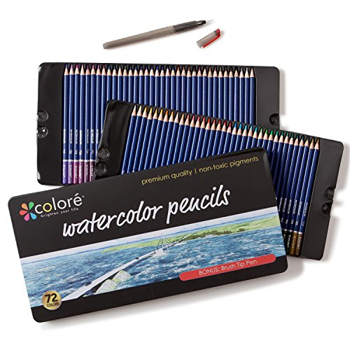 Colore Watercolor Pencils - Water Soluble Colored Pencils For Art Students & Professionals - Assorted Colors for Sketch Coloring Pages For Kids & Adults - Vibrant Colors For Drawing Books - Set of 72