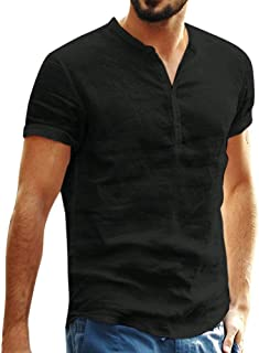 Camisas Hombre Manga Corta Blusa Hombre Manga Corta Negocios y Ocio Camisa Hombre Slim fit Top de Manga Corta de Color sól...