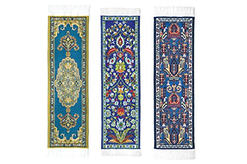 Oriental Carpet Woven Fabric Bookmarks - Teal Collection - 3 bookmark designs- Beautiful, Elegant, Cloth Bookmarks! Best Gifts & Stocking Stuffers for Men,Women,Teachers & Librarians!