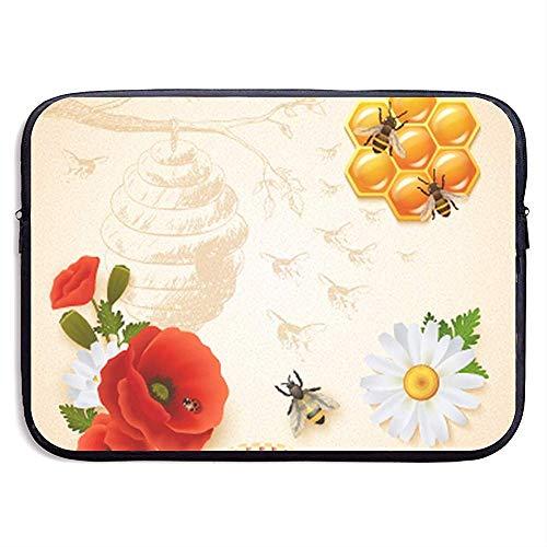 Gekleurde Honing Samenstelling 15 Inch Laptop Sleeve Tas Draagbare Rits Laptop Tas Tablet Tas, Waterbestendig