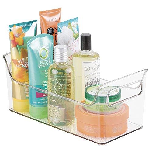 mDesign Contenedor con asas para baño y ducha – Práctica caja de almacenaje para botes de champú, gel, cremas, cepillos y articulos de aseo - Organizador de baño - Plástico transparente