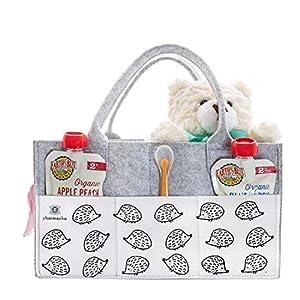 Designer Baby Diaper Caddy Organizer – Portable Diaper Bag Organizer | Nursery Bag for Changing Table | Car Organizer (Hedgehog)
