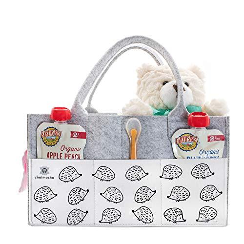 Designer Baby Diaper Caddy Organizer - Portable Diaper Bag Organizer   Nursery Bag for Changing Table   Car Organizer (Hedgehog)