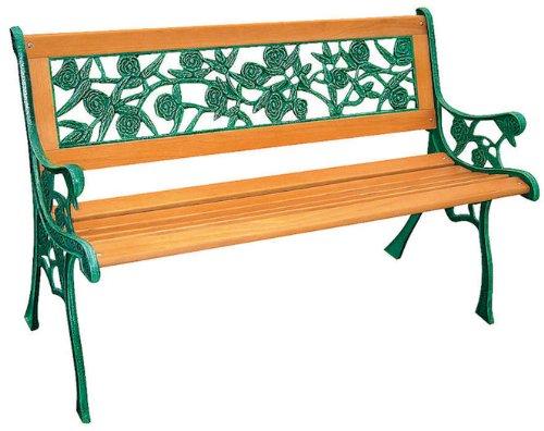 Rozen parkeerbank met gietijzer - tuinbank hout bank hardhout decoratieve bank zitbank