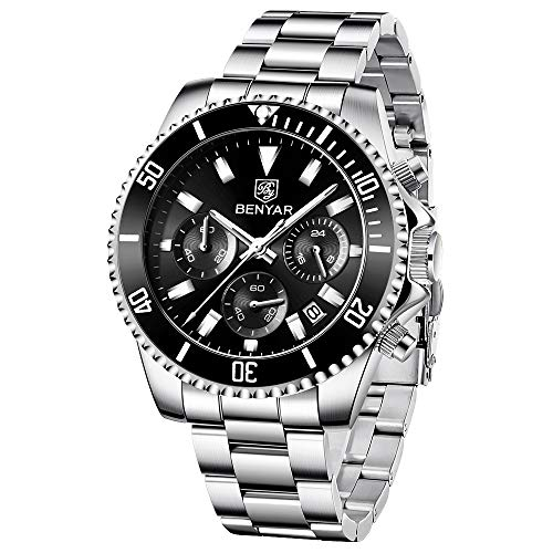 BENYAR Reloj de Hombre Cronógrafo Analógico de Cuarzo Reloj de Pulsera Impermeable para Negocios con Correa de Cuero