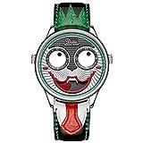 SYLL Reloj de Pulsera de Cuarzo Unisex de Moda de Payaso con Correa de Acero Inoxidable de Cuero Reloj de Hip Hop Impermeable para Hombres y Mujeres Relojes de Pareja,A,Belt