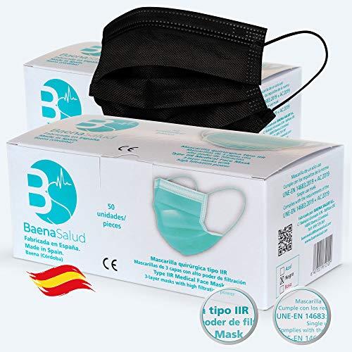 50 Mascarillas Quirúrgicas, higiénicas, desechables, Tipo IIR, en color negro, filtración (BFE) 98%, hechas en España