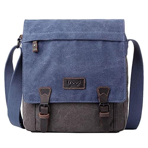 TRP0465 Troop London Heritage Waxed Canvas Leather Messenger Bag, Smart Travel Bag ║H30.5 X W28 X D9 cm