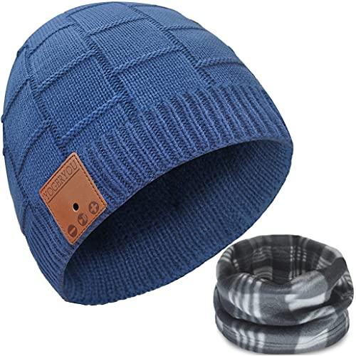 Bluetooth Beanie,Bluetooth Hat,Bluetooth Beanie Hat,Unisex Knit Cap Wireless Running Headphones Earphones Music Hat with Stereo Speakers & Mic Unique Stocking Stuffers Novelty Headwear Tech Gifts