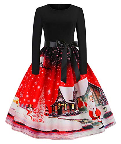 Soluo Clearance Christmas Vintage Long Sleeve Dress Xmas Cocktail Party O Neck Elegant Print Dresses - red - Small