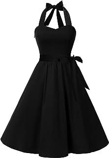 فستان اودري منقط كلاسيكي للنساء من مجموعة هالتر رترو للخمسينيات للحفلات غير الرسمية من توب دريس