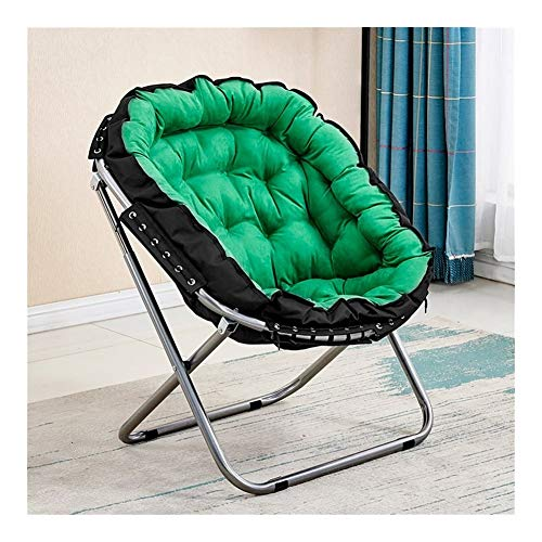 Z-Life Klappstuhl Erwachsene Kinder Moon Chair Sun Stuhl Große Faule Stuhl Lehnstuhl Runde Sofa, Stuhl Heim Faule Couch Tragbare Gepolsterte Saucer Gepolsterte Sitz (Color : Green-a)
