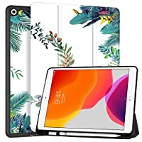 """MAITTAO New iPad 7th Generation 10.2"""" Case 2019 with Apple Pencil Holder, Shockproof Soft TPU Back Cover with Auto Sleep/Wake, Trifold Stand Smart Case Fit iPad 10.2 inch,Flowers & Leafs 2"""
