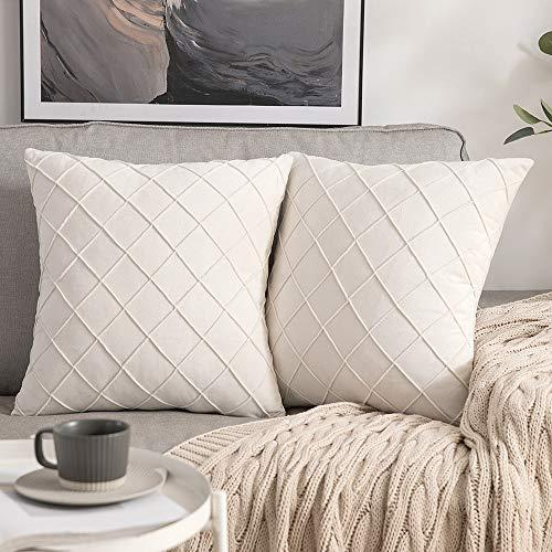 MIULEE 2er-Set Gitter Samt Kissenbezug Falten mit verstecktem Reißverschluss Sofakissen Glänzend Weich Einfarbig Dekokissen für Wohnzimmer Schlafzimmer Cafeteria 40x40 cm, Milchweiß