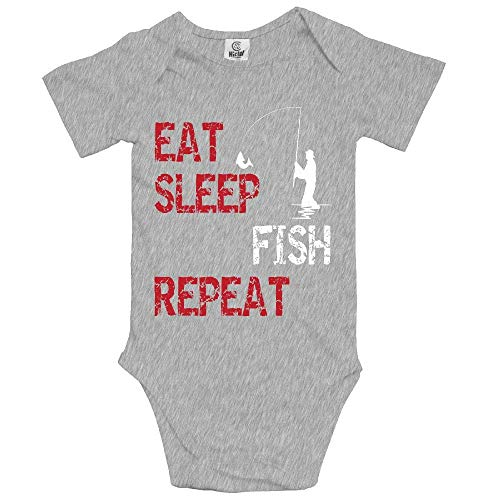 sunminey Vêtements bébé Baby Bodysuit Eat Sleep Fish Repeat Short Sleeves Triangle Romper Bodysuit Outfits Infant Toddler Clothes