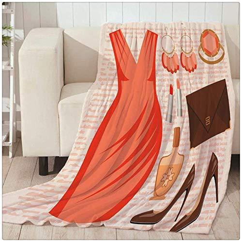 Manta de impresión,Manta cálida ligera y suave súper fina y suave Manta de franela para damas sexy vestido esencial tacones de perfume mantas de sofá para la cama de la sala de estar -80x150cm