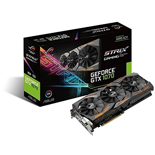 ASUS STRIX-GTX1070-8G-GAMING - Tarjeta gráfica (Strix, NVIDIA GeForce GTX 1070, 8 GB, GDDR5, DVI, HDMI, DP) Color Negro