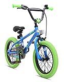 BIKESTAR Bicicleta Infantil para niños y niñas a Partir de 4 años | Bici 16 Pulgadas con Frenos | 16' Edición BMX Azul Verde