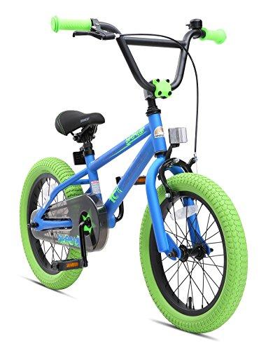 BIKESTAR Kinderfahrrad für Mädchen und Jungen ab 4-5 Jahre | 16 Zoll Kinderrad Kinder BMX Freestyle | Fahrrad für Kinder Blau & Grün | Risikofrei Testen