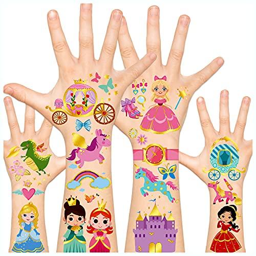 Leesgel Princess Party Favors, Temporary Tattoos for Kids Girls, Princess Birthday Decorations Princess Birthday Party Supplies (Metallic Glitter Tattoos)