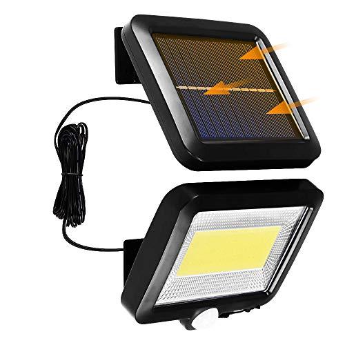 Lámparas solares para exteriores, 100 ledes, foco solar con detector de movimiento, P65, resistente al agua, superluminosa para jardín, garaje, patio