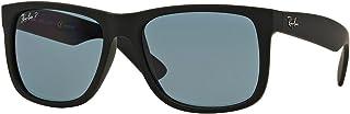 Authentic Ray-ban Justin RB 4165 622/2V 55mm Rubber Black / Dark Blue Polarized