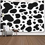 Jacrane Tapestry Wall Hanging, Tapestries with 60x60 Inches Cow Texture Pattern Brown White Animal Jungle Print Spot Skin Fur Milk Art Tapestry for Dorm Bedroom Living Home Decor,Black White