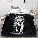 BEDSETAAA 3D Print Bettbezug, warm und weich/Quilt/Decke Fall, Bettwäsche Bettwäsche Tier Black Panther 155x215cm EF